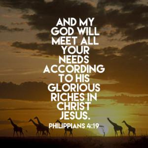 Verse of the Day - Philippians 4:19 KJV - Highland Park Baptist Church -  Lenoir City, Tennessee